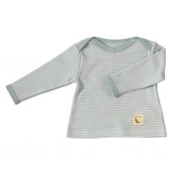 Baby t-shirt met turquoise strepen